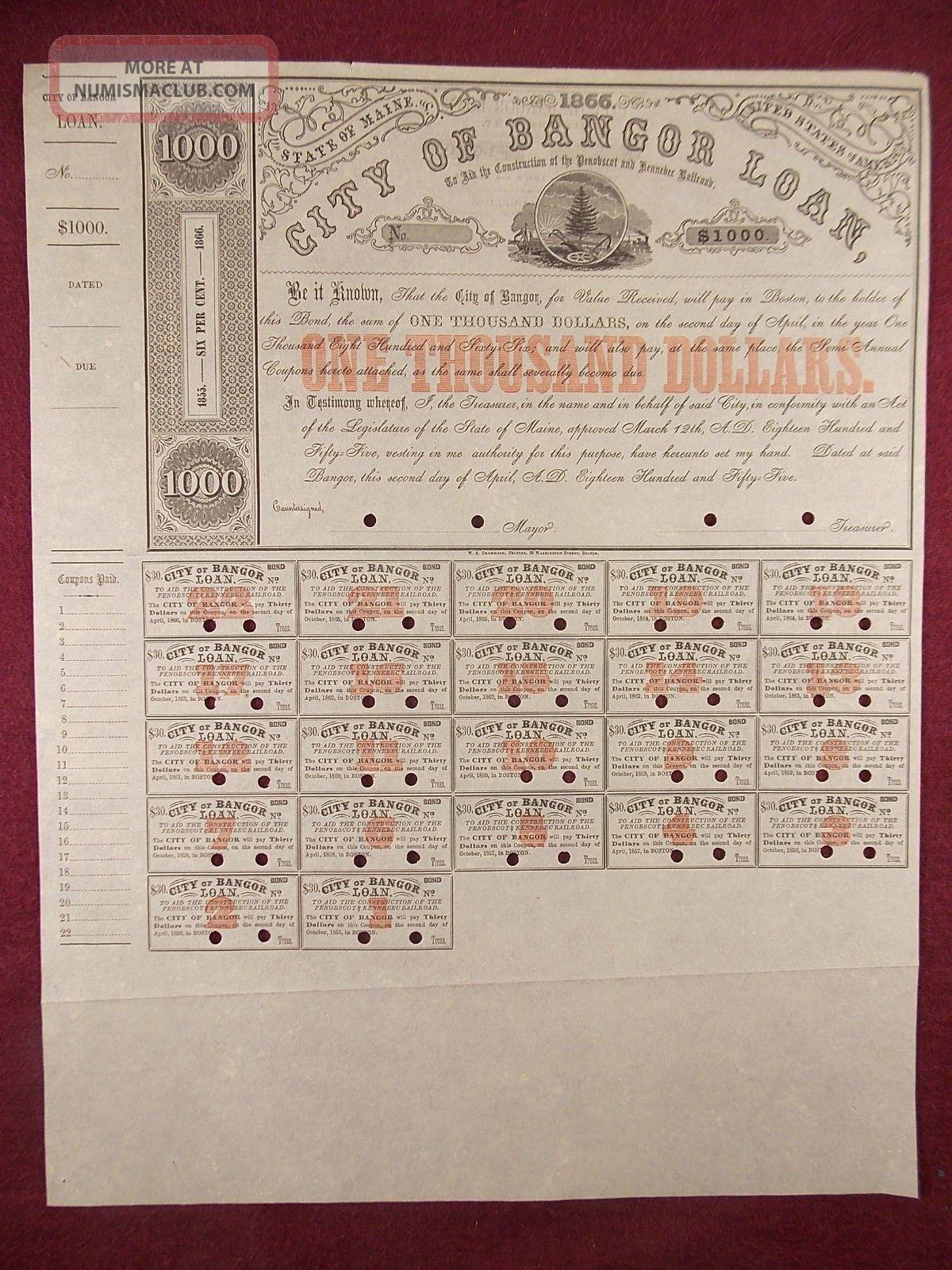 Antique 1855 City Of Bangor Penobscot And Kennebec Railroad $1,  000 Loan Bond Transportation photo