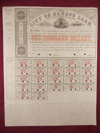 Antique 1855 City Of Bangor Penobscot And Kennebec Railroad $1,  000 Loan Bond photo
