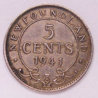 1941c Newfoundland Five Cents F Wwii Era King George Vi Nfld.  Silver photo