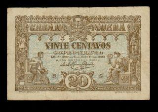 Portugal 20 Centavos 1922 Casa Da Moeda Pick 100 F - Vf Banknote. photo