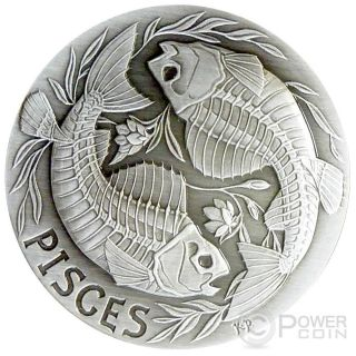 Pisces Memento Mori Zodiac Skull Horoscope Silver Coin 2015 photo