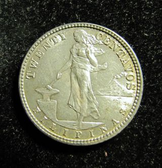 1918 S Philippine 20 Centavo Silver Coin photo