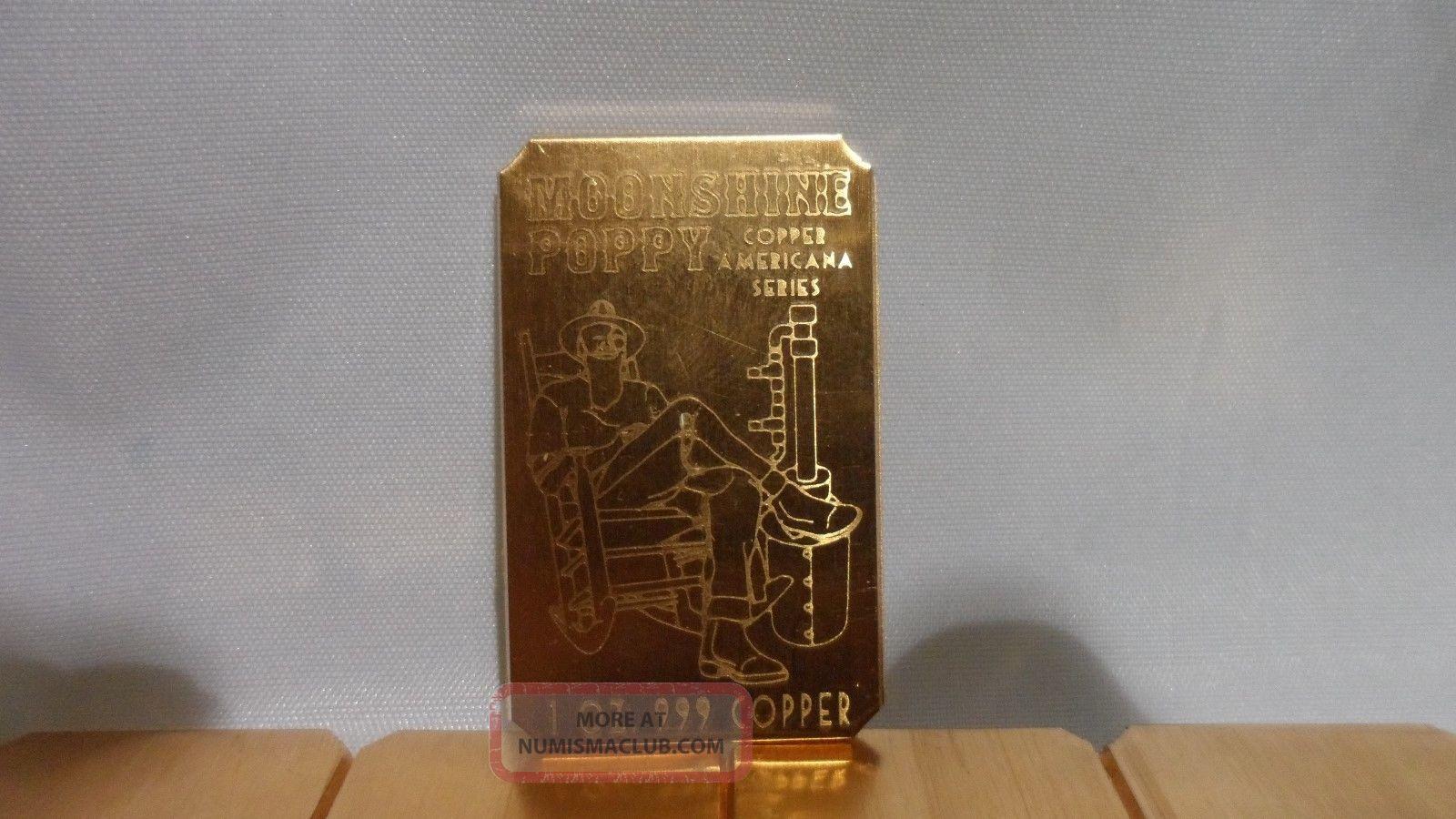 5 Oz Moonshine Poppy Cracker 999 Fine Copper Bullion Art