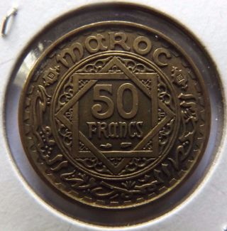 1951 Morocco 50 Francs Great Details See Pictures Large Coin photo