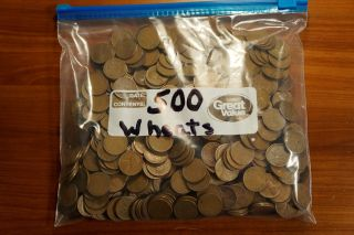 Group Of 500 Wheat Pennies photo