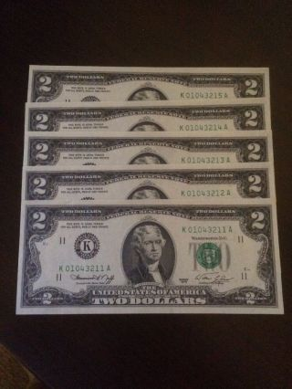 5 Consecutive Low Serial Numbers 1976 $2 Bill Note K Crisp Ex photo