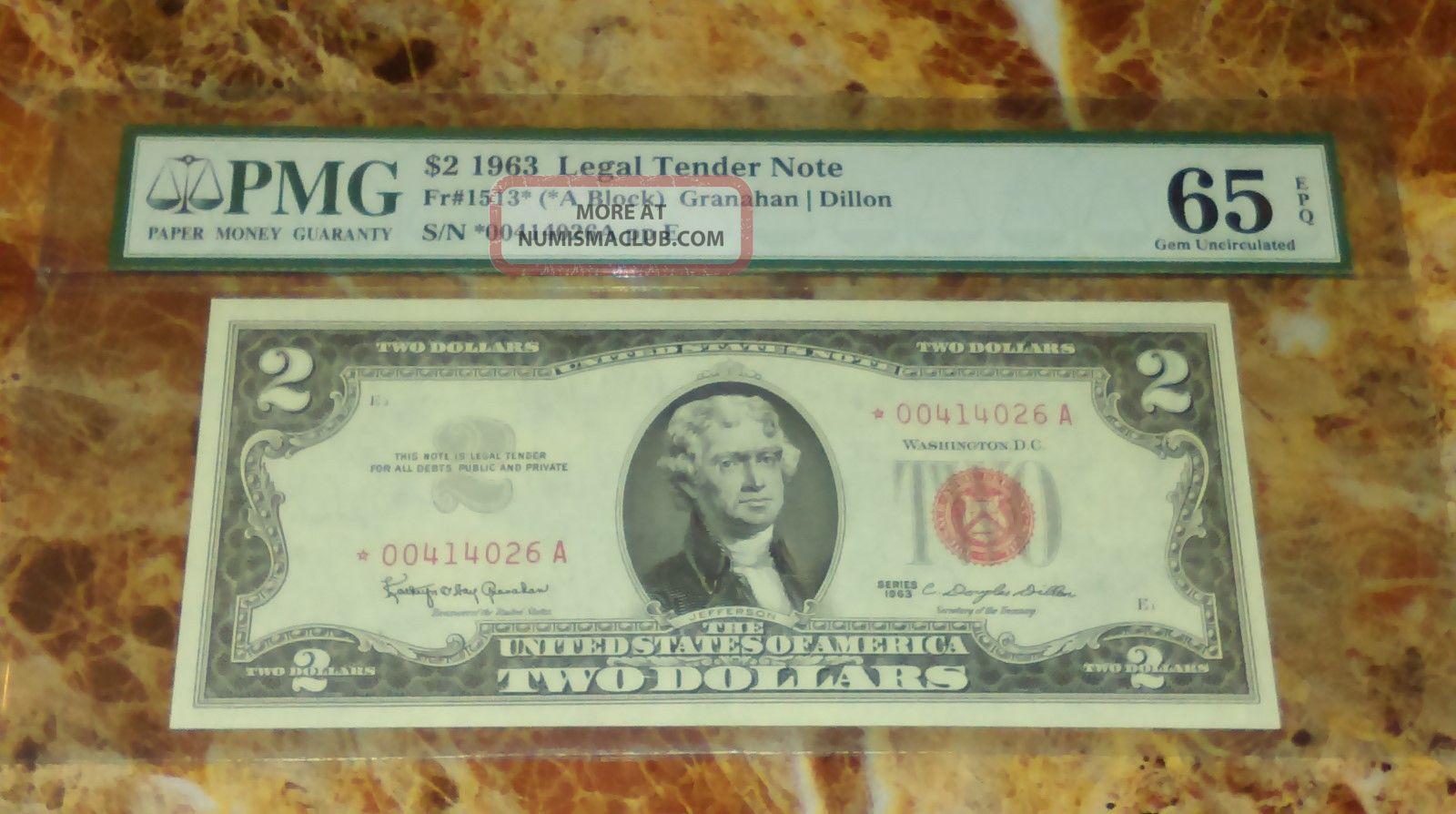 1963 $2 Star - Pmg 65 Epq Small Size Notes photo