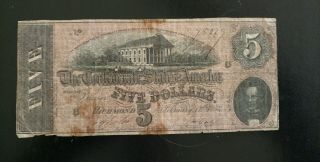 1864 $5 Dollar Bill Confederate States Currency Civil War Note Bill T - 69 photo