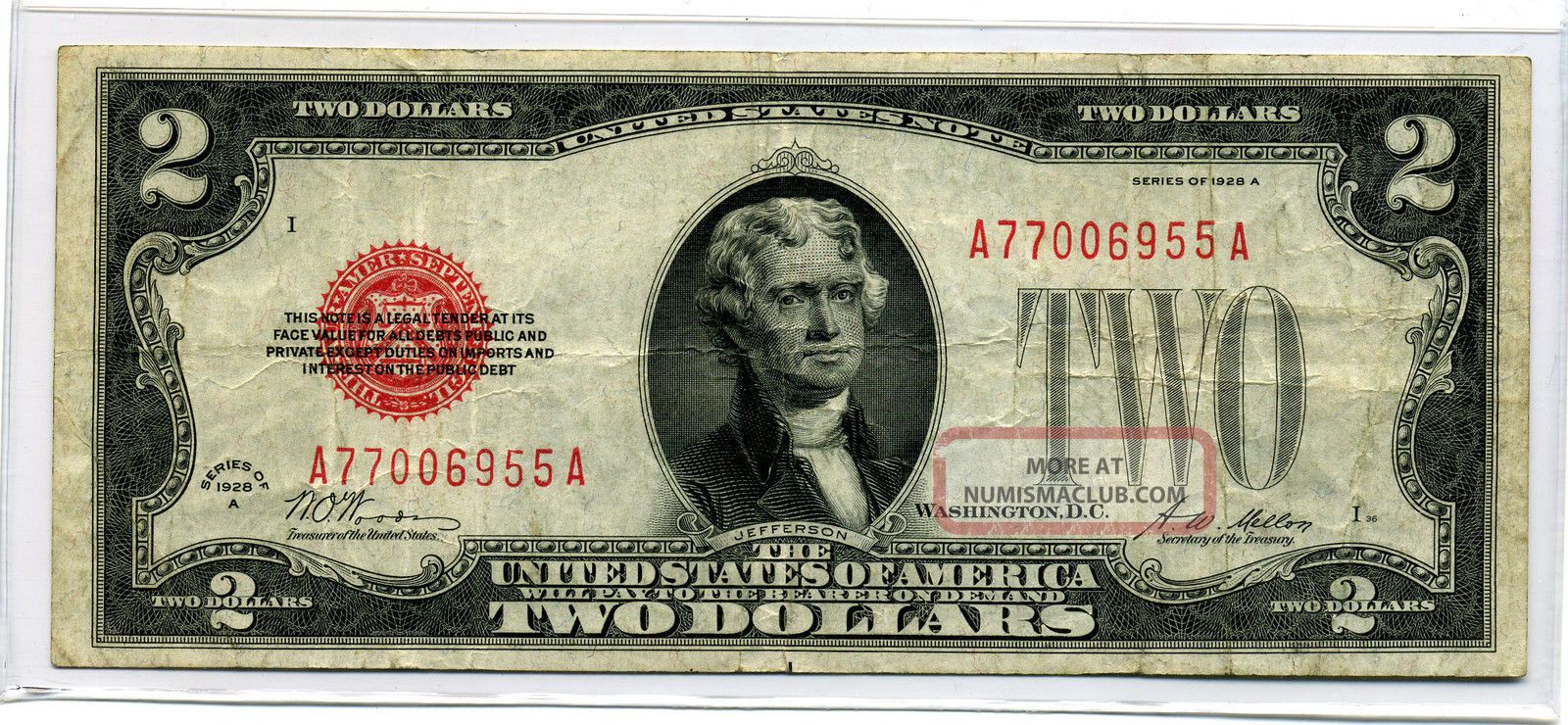 1928a $2.  00 United State Note (ltn) Small Size Notes photo