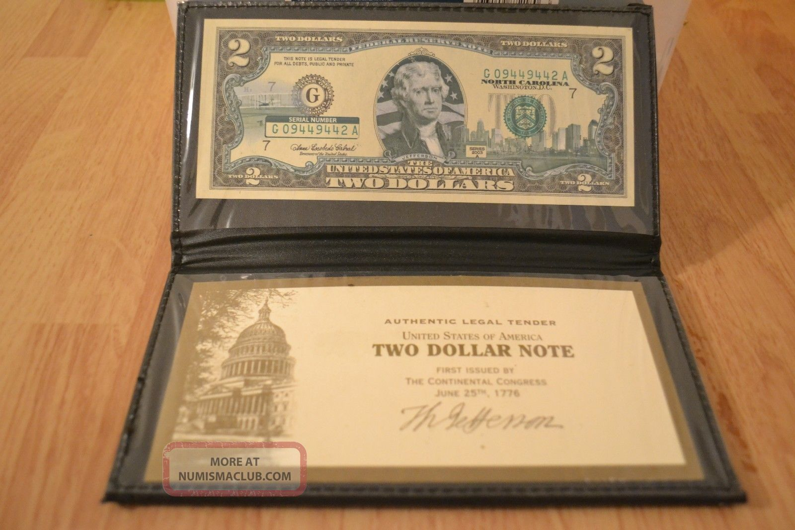 Bu North Carolina $2 Two Dollar Bill Colorized Statelandmark Uncirculated 2003 - A Small Size Notes photo