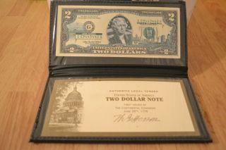 Bu North Carolina $2 Two Dollar Bill Colorized Statelandmark Uncirculated 2003 - A photo