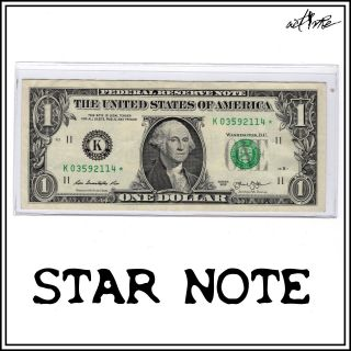 Star Note Serial Number,  $1 One Dollar Fancy Bill Frn Us Currency Banknote Money photo
