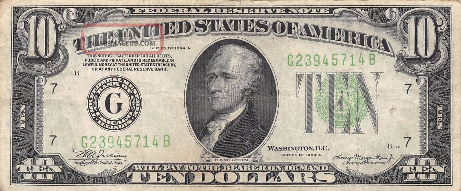 1934 A Chicago $10 Dollar Federal Reserve Note Bill Us Currency Small Size Notes photo
