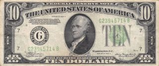 1934 A Chicago $10 Dollar Federal Reserve Note Bill Us Currency photo