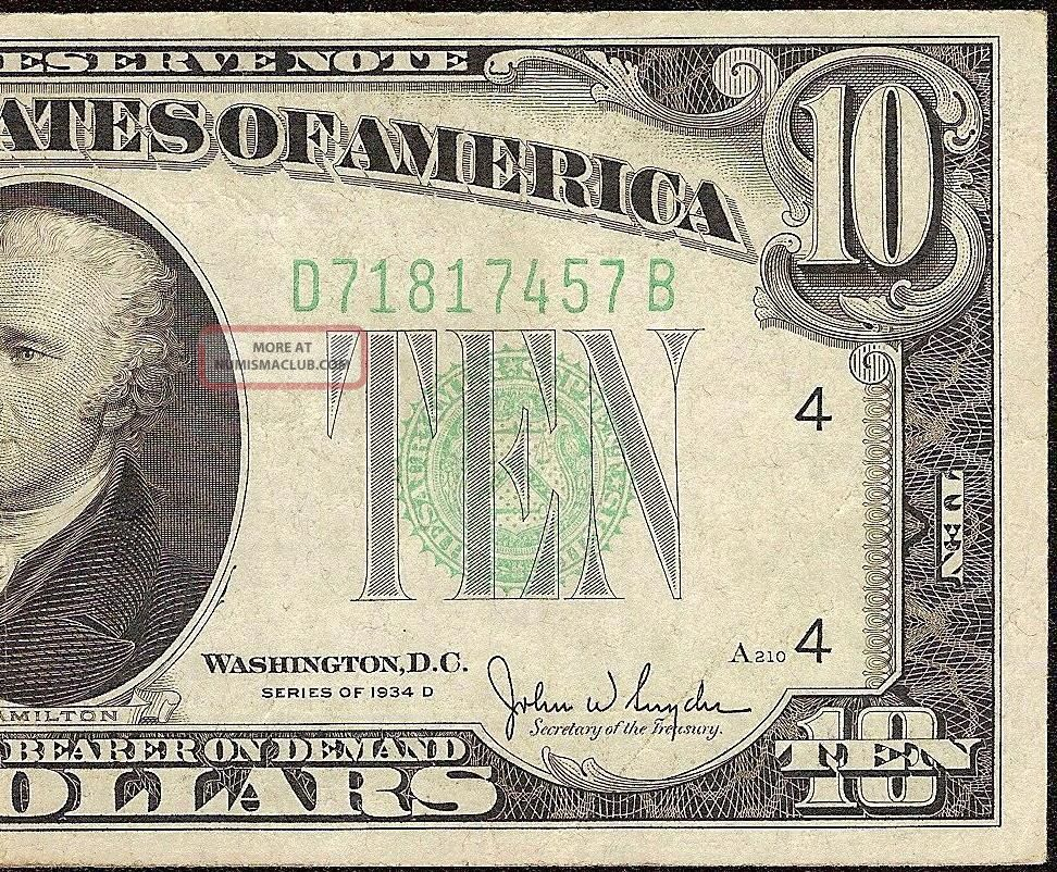 1934 D $10 Dollar Bill Federal Reserve Green Seal Note U.  S.  Currency Fr 2009 - D Small Size Notes photo