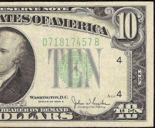 1934 D $10 Dollar Bill Federal Reserve Green Seal Note U.  S.  Currency Fr 2009 - D photo