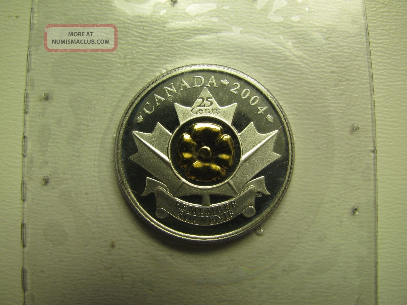 2004 Proof 25 Cents Remembrance Poppy.  925 Silver W/ Gold Plate In Rcm Annual Re Coins: Canada photo