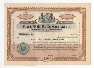 Buck Hill Falls Co.  Stock Certificate photo