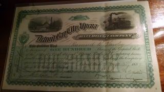 Antique Stock Certificate Signed June 1887 Detroit,  Bay City And Alpina Railroad photo