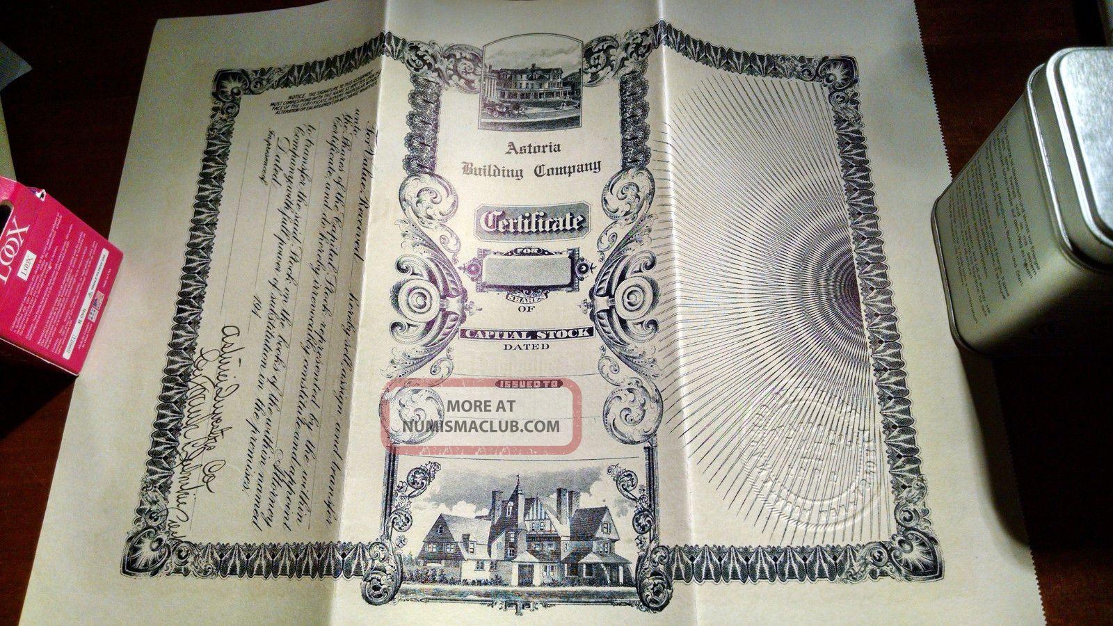 Antique Stock Certificate Signed Nov 1911 Astoria Building Corp $10,  000 Face Val Stocks & Bonds, Scripophily photo