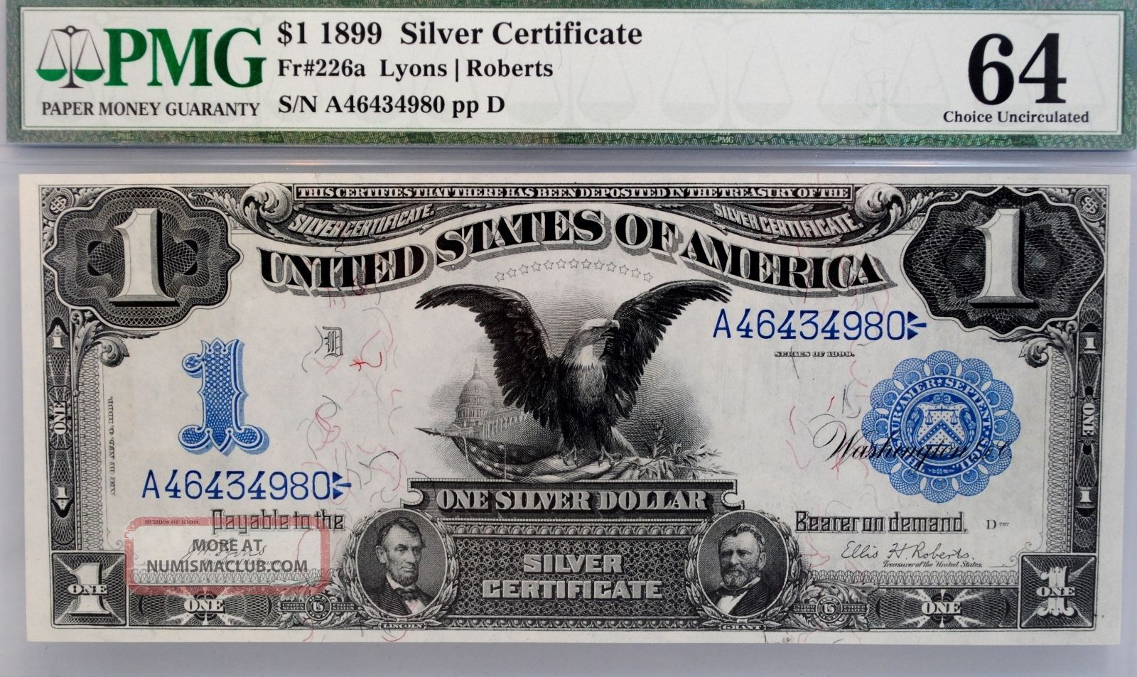 1899 Black Eagle Silver Certificate $1 Pmg 64 Choice Fr 226a Bill Note Bu Large Size Notes photo