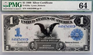 1899 Black Eagle Silver Certificate $1 Pmg 64 Choice Fr 226a Bill Note Bu photo