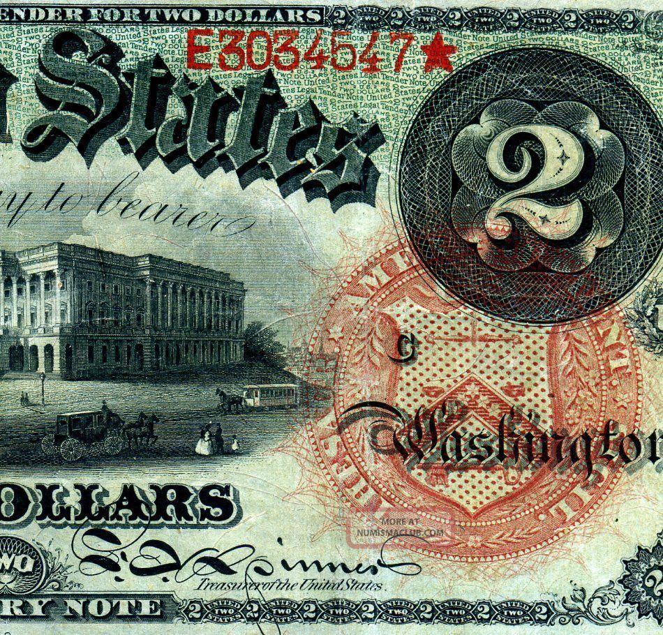 Fr - 42 1869 $2 Treasury Note ( (rainbow))  E3034547 Large Size Notes photo