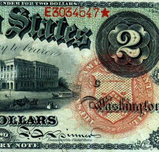 Fr - 42 1869 $2 Treasury Note ( (rainbow))  E3034547 photo