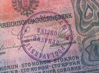 Rarre Banknote Croatia - 100 Krone 1912 - Hanstamp Poglavarstvo ObĆine U Stupnik photo