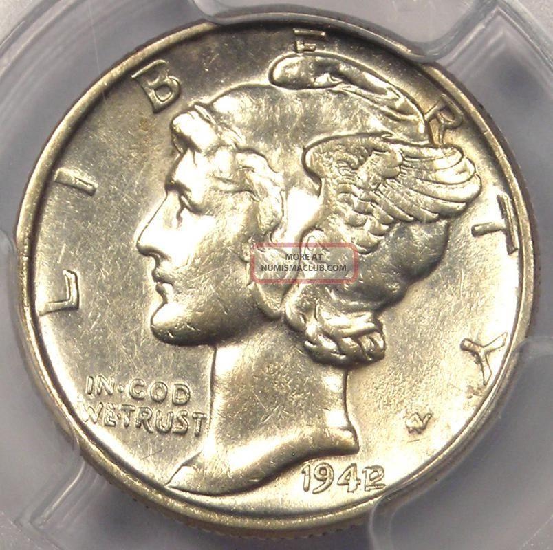 1942 1 Mercury Dime 10c Pcgs Au Details Rare Overdate Variety Coin