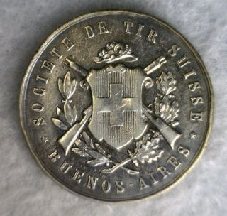 Swiss Shooting Festival 1878 Buenos Aires Silver Medal Switzerland (stock 0268) photo