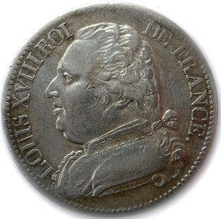 France Coin - Piece,  1814 M,  Toulouse,  5 Francs Silver - Argent,  Louis Xviii,  Vf, photo
