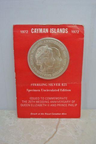 ' 72 Cayman Islands $25 Uncirculated Sterling Silver (. 925) Queen Elizabeth 25th photo