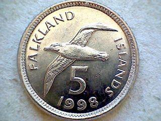 Falkland Islands 1998 5 Pence,  Black - Browed Albatros photo