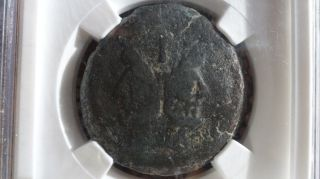 Roman Republic Bronze Coin Anonymous Ae As After 211 Bc Janus/prow Ngc F photo