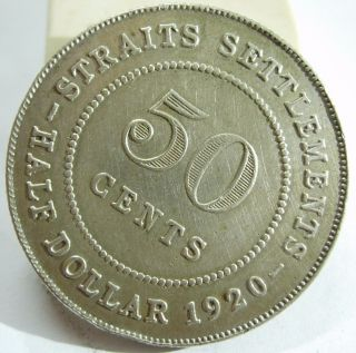1920 Straits Settlement 50 Cents Silver Coin photo