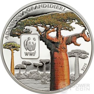 Baobab Wwf World Wildlife Fund Coin 100 Francs Central African Republic 2015 photo