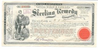 1897 Stock Certificate,  Sterling Remedy Co.  Chicago,  Il,  Ny,  Ny,  Jersey City,  Nj photo