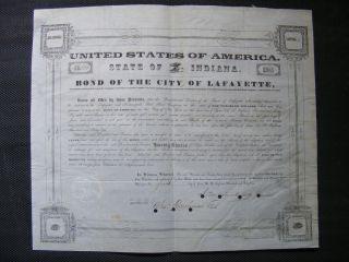 Lafayette And Indianapolis Railroad Bond photo