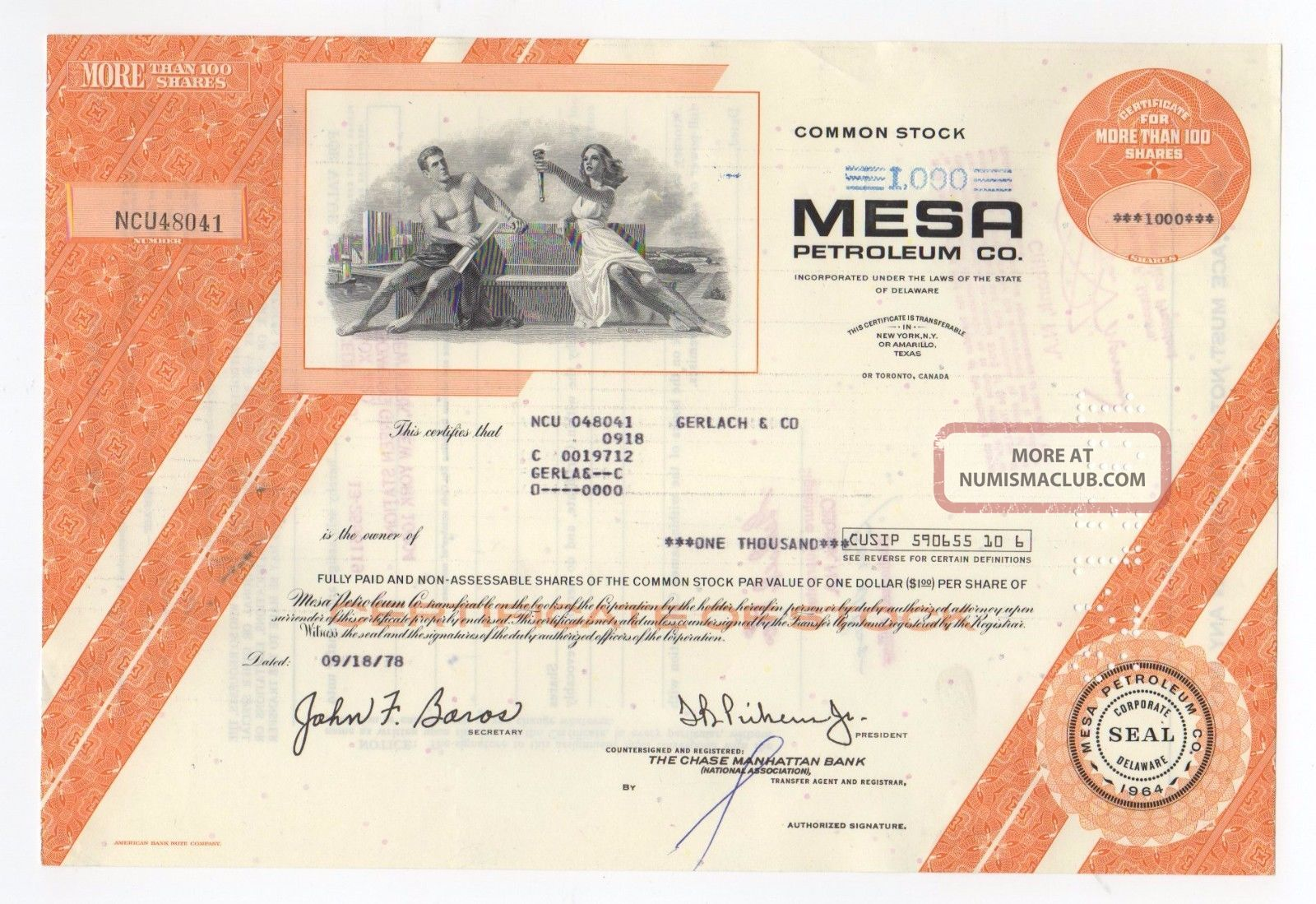 Mesa Petroleum Company Stock Certificate Stocks & Bonds, Scripophily photo