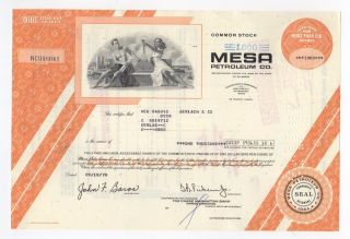 Mesa Petroleum Company Stock Certificate photo