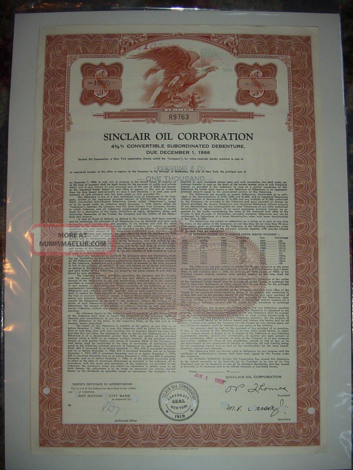 Sinclair Oil Corporation Bond Stock Certificate Stocks & Bonds, Scripophily photo