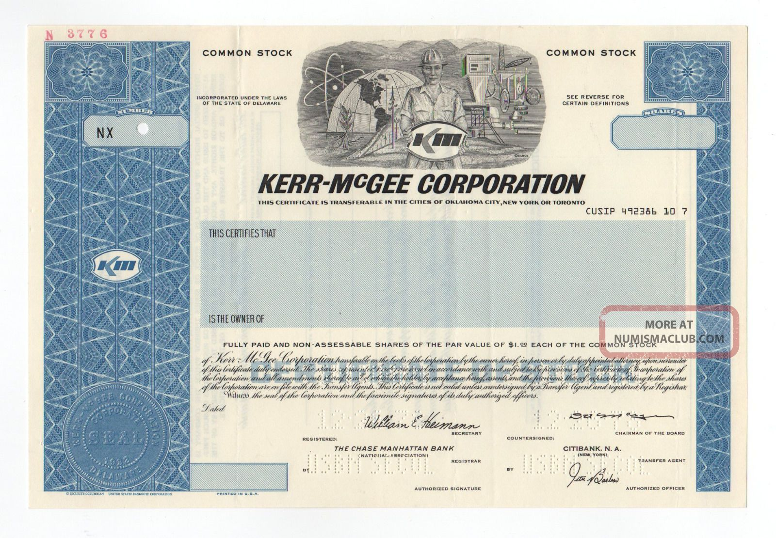 Specimen - Kerr - Mcgee Corporation Stock Certificate Stocks & Bonds, Scripophily photo