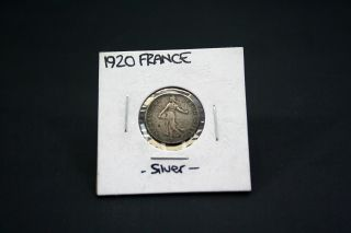 France French Francaise 50 Centimes 1920.  854 Silver photo