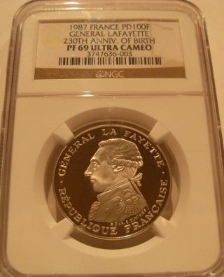 France 1987 Palladium 100 Francs Ngc Pf - 69uc General Lafayette photo