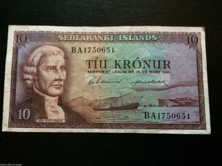 Iceland Old Banknote 10 Kronur L.  1961 photo