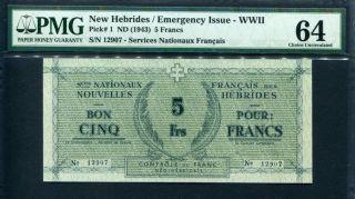 Hebrides 1943,  Emergency Issue - Wwii 5 Francs,  P1,  Pmg 64 Unc photo