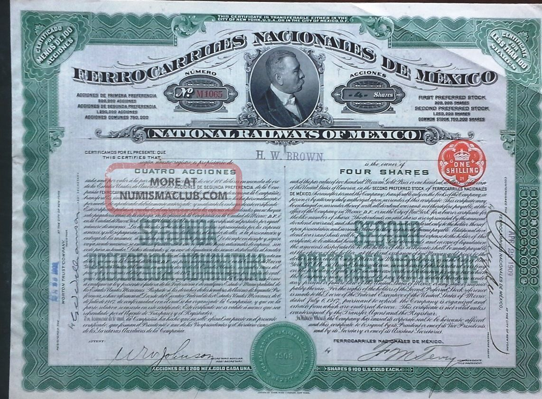 Mexico Mexican 1909 Ferrocarriles Nacionales Railways 4 Shares Unc Loan Bond World photo