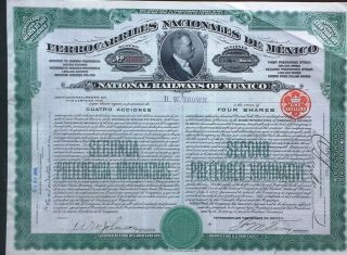 Mexico Mexican 1909 Ferrocarriles Nacionales Railways 4 Shares Unc Loan Bond photo