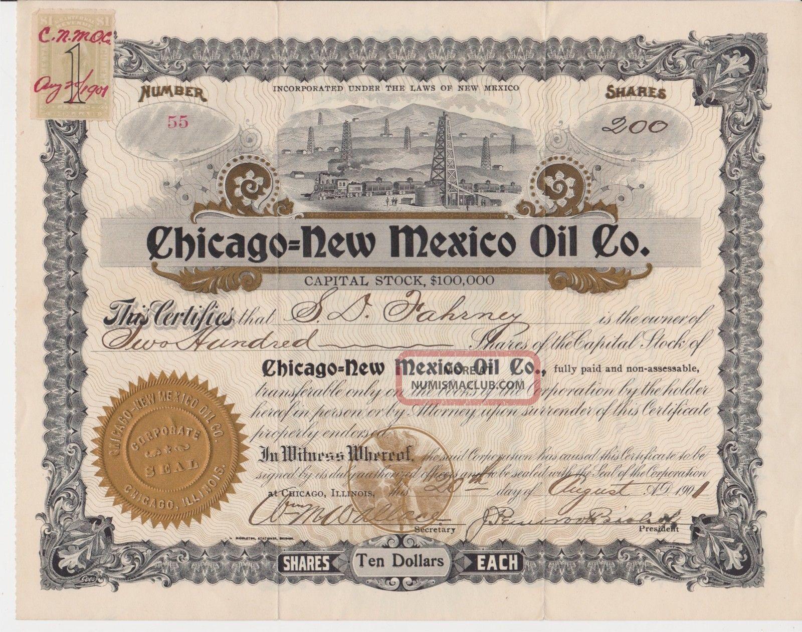 Chicago - Mexico Oil Company Stock Certificate 1901 Mexico Stocks & Bonds, Scripophily photo